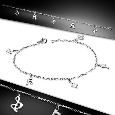 Stainless Steel Musical Treble Clef Notes Charm Extender Chain Bracelet/Anklet