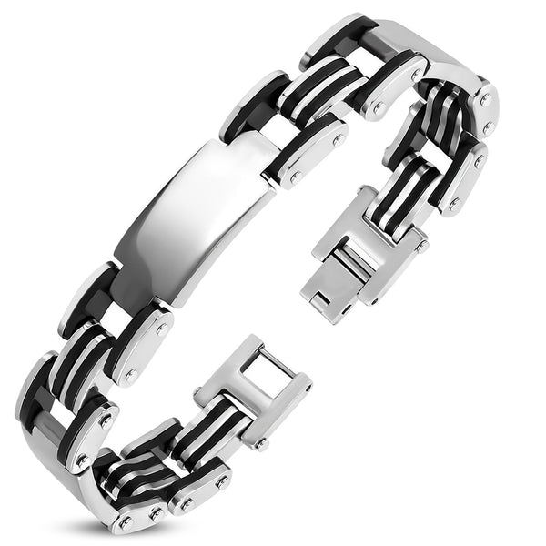 Stainless Steel 2-tone with Black Rubber Engravable Geometric Mens Link Bracelet