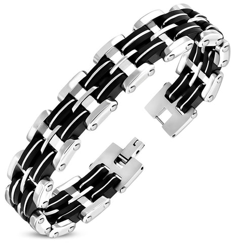 Stainless Steel 2-tone with Black Rubber Geometric Mens Link Bracelet