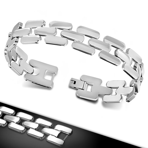 Stainless Steel Matte & Polish Finished Geometric Mens Link Bracelet
