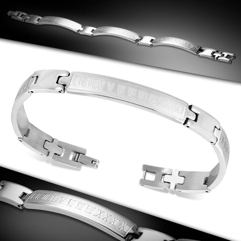 Stainless Steel Roman Numeral Bracelet