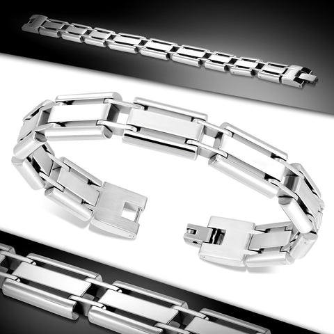 Stainless Steel Mens Panther Link Bracelet