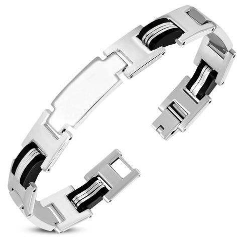 Stainless Steel with Black Rubber Engravable Panther Link Bracelet