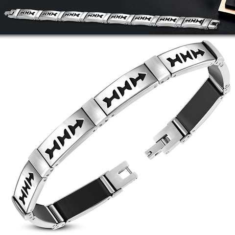 Stainless Steel with Black Rubber Cut-out Bracelet