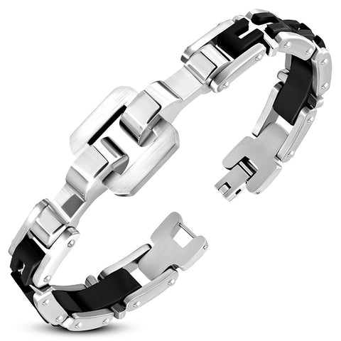 Stainless Steel with Black Rubber Geometric Watch-Style Bracelet