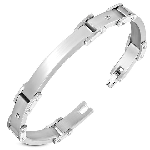 Stainless Steel Engravable Screw Watch Style Bracelet