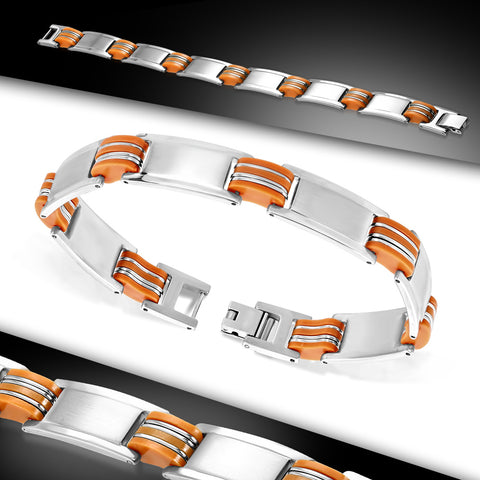 Stainless Steel with Orange Rubber 2-tone Engravable Panther Link Bracelet