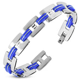 Stainless Steel with Blue Rubber 2-tone Alphabet H Link Bracelet