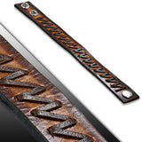 Genuine Brown Leather Weave Zigzag Snap Wristband Bracelet
