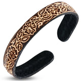 Genuine Brown Leather Engraved Love Heart Shamrock Flower Cuff Bangle