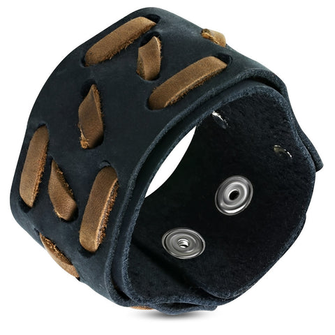 Leather Weave Snap Wristband Bracelet