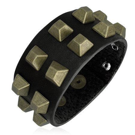 Black Leather with Square Stud Snap Bracelet