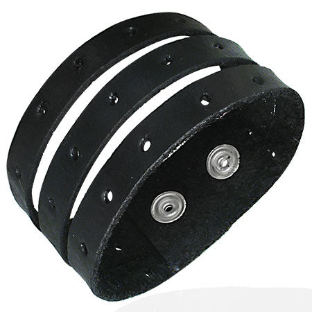 Genuine Black Leather 3-Row Wrap Snap Bracelet