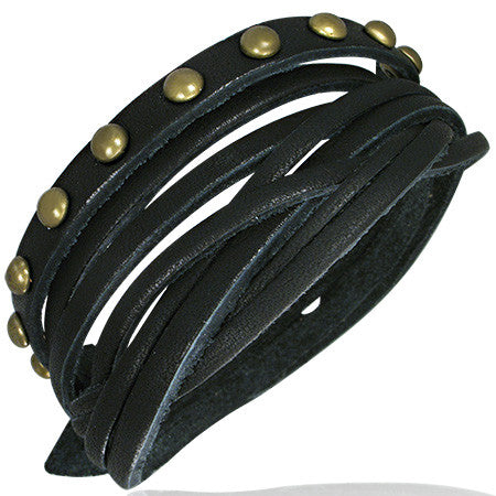 Jewelworx Genuine Black Braided Leather Gold Color Round Stud Snap Bracelet