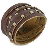 Genuine Brown Leather Gold Color Square Pyramid Stud Multi Wrap Snap Bracelet