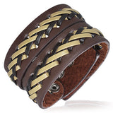 Jewelworx Genuine 2-Tone Leather Weave Criss-Cross Snap Wristband Bracelet