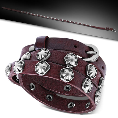 Red Leather Maltese Flower Stud Multi Wrap Belt Buckle Bracelet