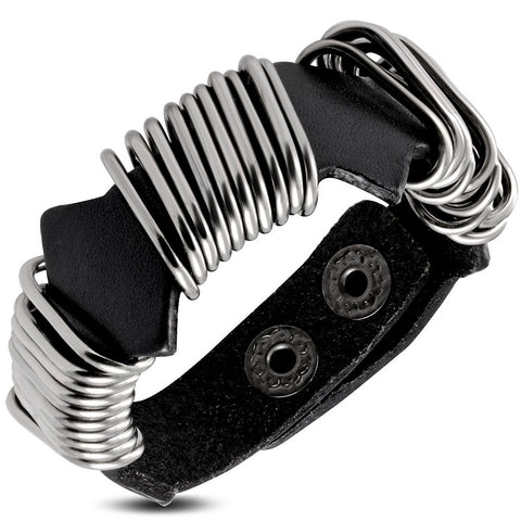 Genuine Black Leather Ringed Wrap Snap Bracelet