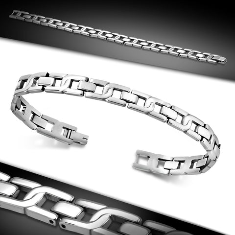 Stainless Steel Interlocking Oval Link Bracelet