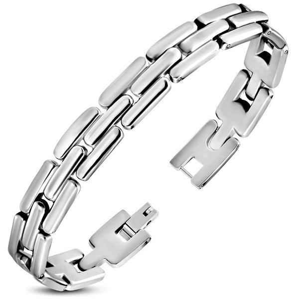 Stainless Steel Ribbed Geometric Mens Link Bracelet