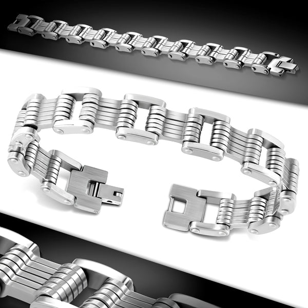 Stainless Steel Geometric Mens Link Bracelet