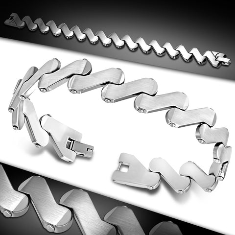 Stainless Steel Matte Finished Engravable Geometric Link Bracelet