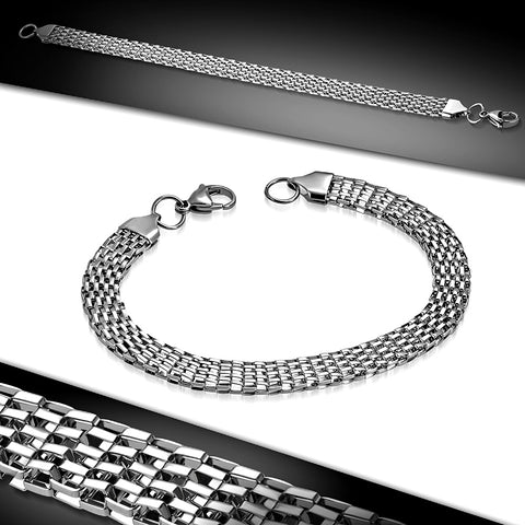 Ladies Stainless Steel Flat Mesh Chain Bracelet