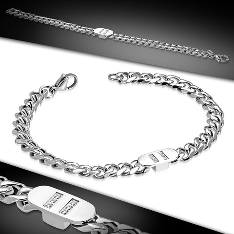 Stainless Steel Bracelet with Clear Cubic Zirconia