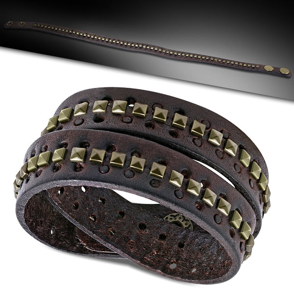 Genuine Red Brown Leather Gold Color Square Pyramid Stud Double Wrap Snap Bracelet