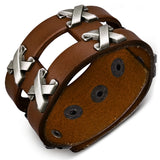 Light Brown Leather Row of Criss-Cross Stud Snap Wristband Bracelet