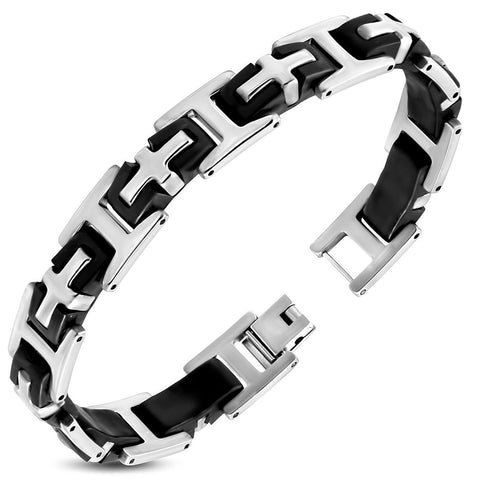 Stainless Steel with Black Rubber 2-tone Latin Cross Panther Link Bracelet