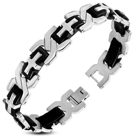 Men's Stainless Steel with Black Rubber Panther Link Bracelet