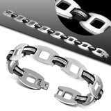 Men's Stainless Steel Matte Finished Oval Link Bracelet