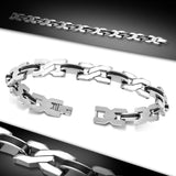 Stainless Steel with Black Rubber 2-tone Twisted Criss Cross Mens Link Bracelet