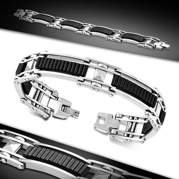 Stainless Steel with Ribbed Black Rubber Mens Link Bracelet
