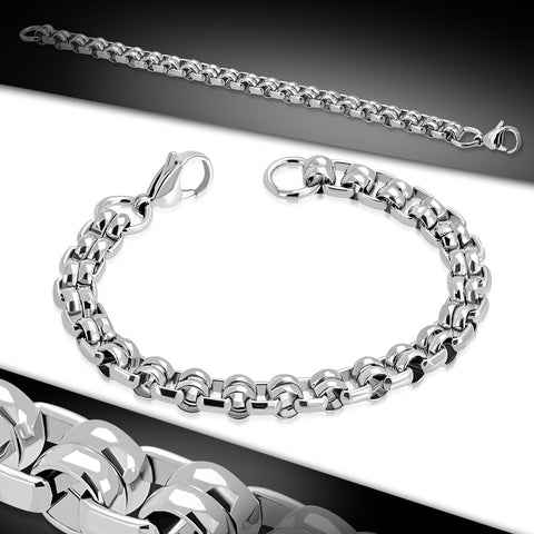 Stainless Steel Lobster Claw Clasp Closure Double Rolo Link Chain Bracelet