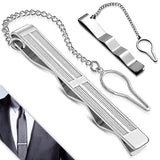 Stainless Steel Latin Cross Bar Necktie Mens Tie Clip with Chain