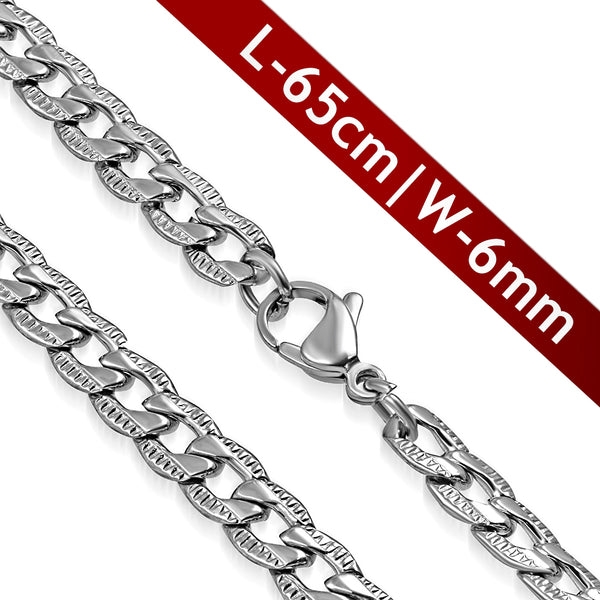 Stainless Steel Diagonal Flat Curb Cuban Link Chain