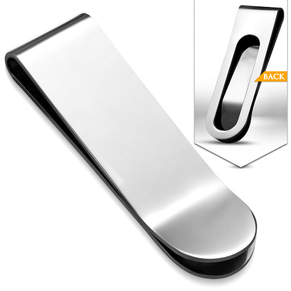 Stainless Steel Engravable Simple Plain Hinged Slim Clamp Money Clip