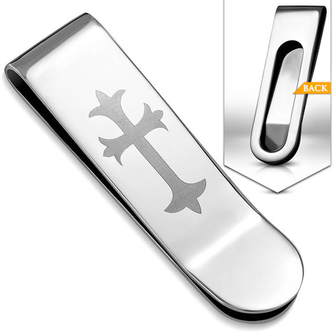 Stainless Steel Fleur De Lis Cross Hinged Slim Clamp Money Clip