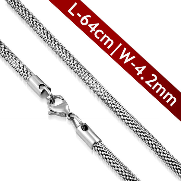 Stainless Steel Lobster Claw Clasp Round Mesh Link Chain