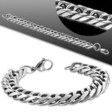 Stainless Steel Lobster Claw Clasp Curb Cuban Link Chain Bracelet