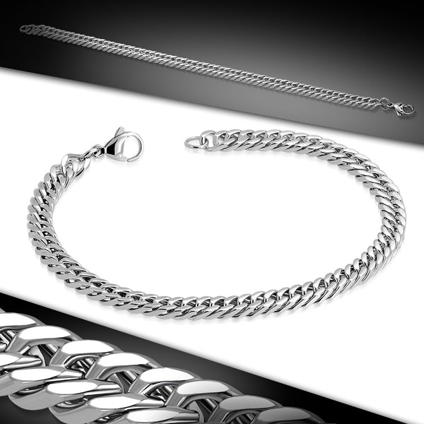 Stainless Steel Flat Curb Cuban Link Chain Bracelet