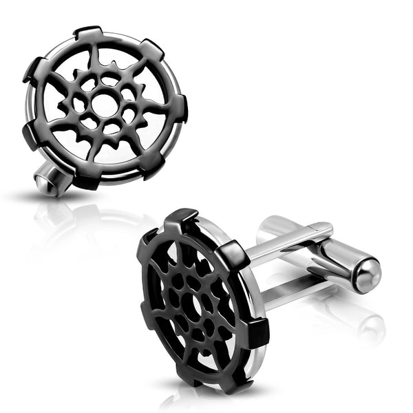 Stainless Steel Helm/Wheel Cufflinks (Pair)