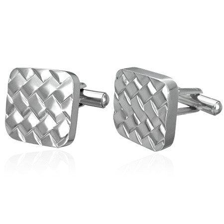 Jewelworx Stainless Steel Grid Design Square Cufflinks (Pair)