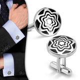 Stainless Steel 2-tone Concentric Star Flower Circle Cufflinks (Pair)