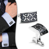 Stainless Steel 2-tone Peace Sign Cufflinks (Pair)