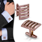 Brown Stainless Steel Square Cufflinks (Pair)