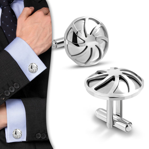 Stainless Steel Windmill Cufflinks (Pair)