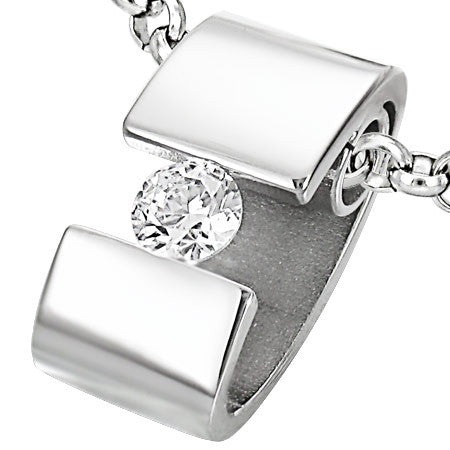 Steel Tension-Set Ring Pendant with Cubic Zirconia